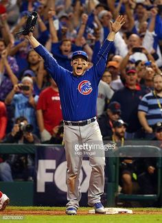 Anthony Rizzo of the Chicago Cubs celebrates after catching the final out to defeat the Cleveland Indians in Game 7 of the 2016 World Series. Cleveland Indians Baseball, Chicago Cubs Baseball, Baseball Boys, Baseball Players, Baseball Gloves, Wildcats Basketball, Chicago Cubs History, Chicago Cubs World Series, Cubs Pictures