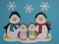 Fensterbilder Tonkarton Familie Pinguin Winter