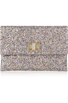 Glitter clutch to add sparkle to the day! Valorie by Anya Hindmarch