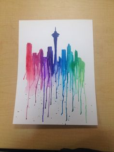 One of my high school art projects. Seattle skyline in watercolor.
