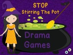 Stop Stirring The Pot of Drama by recognizing what drama is, how it impacts others, and alternative ways of expressing feelings. Playful activities A pot of drama potion questions that encourage thoughtful sharing of feelings from personal expe Drama Activities, Drama Games, Activities For Girls, Counseling Activities, Therapy Activities, Group Counseling, Scout Activities, Elementary School Counseling, School Social Work