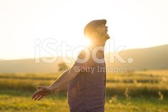 man in wheat field and sunlight royalty-free stock photo
