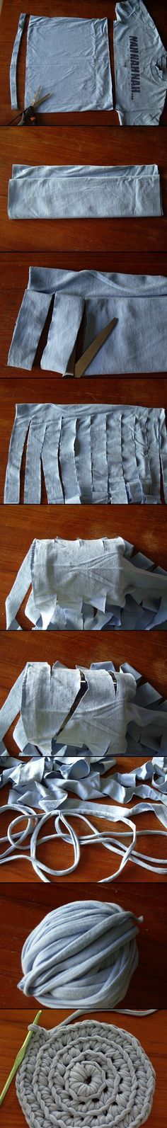 Brilliant Tutorial = Crochet yarn from cotton t-shirts!  Cut, pull (to curl fabric), roll into ball for use!  Easey Peasey!