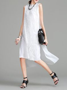 Shop Sleeveless Casual Crew Neck Plain Crocheted Midi Dress_14646272780009284000121463993013 Online. The world's most-coveted and unique  designer apparel - Sexyplus everyday.