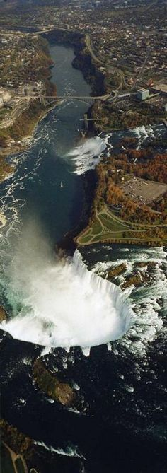Water from Lake Erie flows down The Niagara River, drops down Niagara Falls, flows down the Niagara Gorge and out to Lake Ontario ... amazing shot!