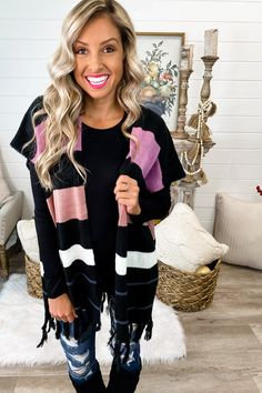 Striped Fringe Poncho Cardigan – Simply Me Boutique