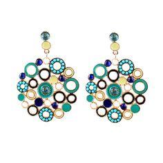 Дешевое Модный дизайн синий цвет эмали круглый бижутерии мотаться 2014 новый, Купить Качество Висячие серьги непосредственно и