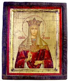 Russian. Hand-painted wooden Saint Olga icon on a golden background. St. Olga was the first recorded female ruler in Russia and the first member of the ruling family of Kiev to adopt Christianity. She was canonized as the first Russian saint of the Orthodox Church. St. Olga was the widow of Igor I, Prince of Kiev. 1800 AD