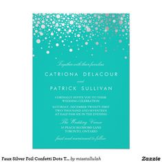 Faux Silver Foil Confetti Dots Turquoise Wedding