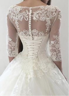 Magbridal Vintage Tulle Bateau Neckline Ball Gown Wedding Dresses With Lace Appliques