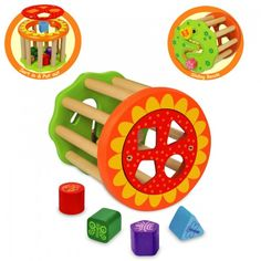 This activity roller features shape sorting, shape matching and maze functions. 	Produced from sustainable rubber wood and finished with non toxic paint.