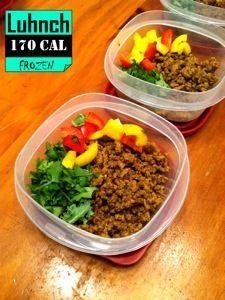 Rock-yo-Taco Paleo Salad Enhancer. Freezable portions for lunch! 4 servings @ 170 cal. each