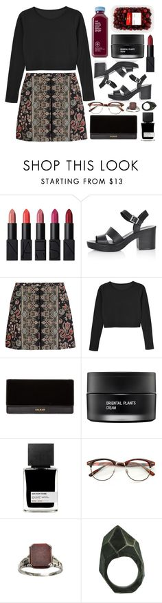 """Untitled #711"" by rheeee ❤ liked on Polyvore featuring NARS Cosmetics, Topshop, Valentino, Monki, Balmain, Koh Gen Do, MiN New York and Lady Grey"