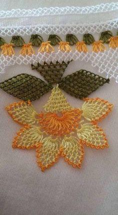 Needle Lace Writing Models and Towel Edge Models, - Crochet Unique, Crochet Lace Edging, Crochet Borders, Crochet Flowers, Crochet Stitches, Knit Crochet, Crochet Decoration, Crochet Home Decor, Needle Lace