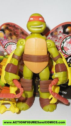 Playmates toys action figures for sale to buy: TEENAGE MUTANT NINJA TURTLES TMNT (Nickelodeon series) 2012 series 1 MICHELANGELO TURFLYTLE / Mikey / Mike 100% COMPLETE (Even includes original file por