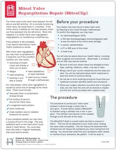 This tearpad helps patients learn about the Transcatheter Mitral Valve Regurgitation Repair (MitraClip) procedure. It also offers helpful tips on how to prepare for and recover from this procedure. Mitral Valve Regurgitation, Heart Valves, Cardiac Nursing, Helpful Tips, College, Education, Learning, Useful Tips, University
