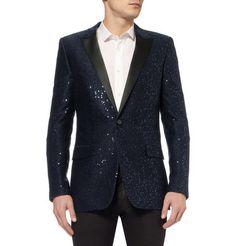 Saint LaurentSequin-Embellished Wool-Blend Tuxedo Jacket
