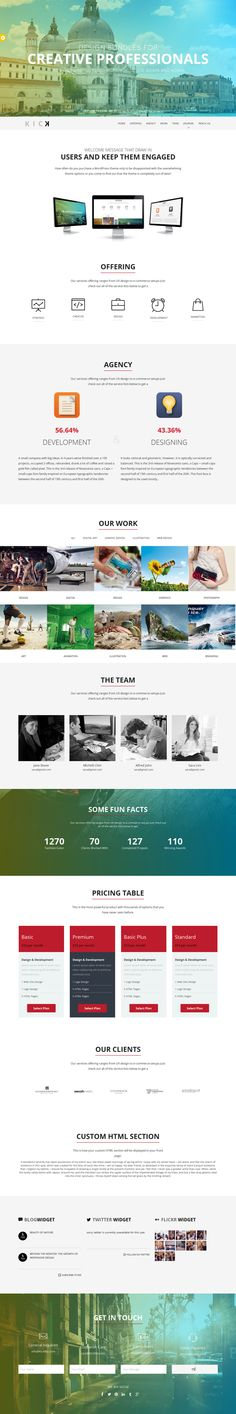 KICK - Onepage Wordpress Theme by Themes Awards, via Behance