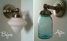 Replace the sconce globe with a mason jar....40 Easy Things To Do With Mason Jars