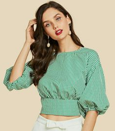 47 Summer Tops Blouses For Daytime - Daily Fashion Outfits Blouse Styles, Blouse Designs, Hijab Fashion, Fashion Dresses, Sleeves Designs For Dresses, Vetement Fashion, Mein Style, Wrap Blouse, Trendy Tops