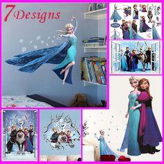 hot movie wall stickers kids bedroom decorations 1418. cartoon film elsa anna olaf hans home decals children girls mural art 4.0