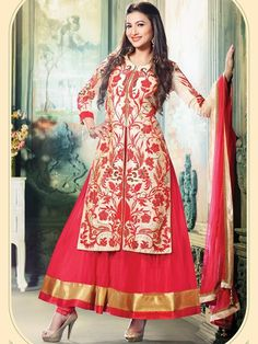 Alluring Beige And Red Colored Soft Net Salwar Suit