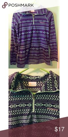 Fleece Aztec print Columbia zip up pull over Used a couple of times has much love left. Great condition! Super warm and cozy. Purple and teal. Columbia Sweaters