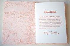 love the inside cover that's a map | Map Travel-Inspired Destination Wedding Invitations by Gus & Ruby Letterpress via Oh So Beautiful Paper (5)