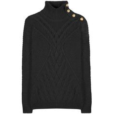 Balmain Mohair and Wool-Blend Embellished Turtleneck Sweater (€740) ❤ liked on Polyvore featuring tops, sweaters, balmain, blouses, jumper, black, turtleneck sweater, polo neck jumper, mohair sweater and polo neck sweater
