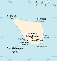 Navassa Island is a small, uninhabited island in the Caribbean Sea, claimed as an unorganized unincorporated territory of the United States, which administers it through the U.S. Fish and Wildlife Service.