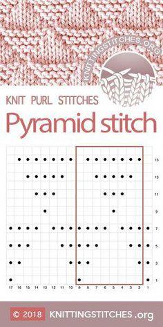 Most up-to-date Free knitting stitches chart Tips KnittingStitches — Pyramid stitch Chart Knitting Charts, Easy Knitting, Loom Knitting, Knitting Needles, Knitting Machine, Baby Knitting Patterns, Stitch Patterns, Crochet Patterns, Lace Patterns