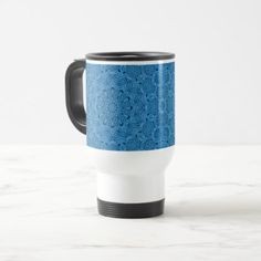 Decorative Blue Vintage Kaleidoscope  Travel Mug - decor gifts diy home & living cyo giftidea