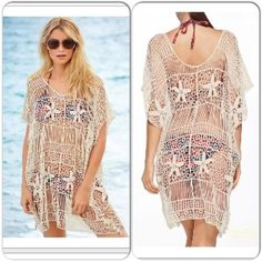 """Starfish Crochet Beach Cover Up This gorgeous beach cover up is perfect for your next pool party or tropical getaway. Crochet throughout. Off white in color. Measures 34"""" top of shoulder to bottom hem. Measures 24"""" armpit to armpit. Measures 24"""" across bottom hem. 11"""" arm hole opening. Will fit small-medium loosely. Swim Coverups"""