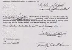 Notary seal on Timothy Adams' affidavit