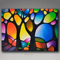Large Colorful Original Abstract Painting Commission, Geometric Landscape Tree Painting, Large Wall Art, Abstract Tree Painting, Sunset Art – Famous Last Words Tree Of Life Painting, Abstract Landscape Painting, Landscape Paintings, Abstract Trees, Abstract Art, Geometric Painting, Geometric Art, Landscape Art, Abstract Designs