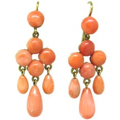Antique Victorian Coral Gold Drop Earrings   From a unique collection of vintage drop earrings at http://www.1stdibs.com/jewelry/earrings/drop-earrings/