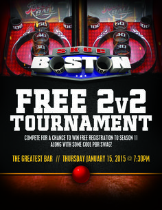 Thursday, January 15 At The Greatest Bar  Team Skeeball 2 v 2 Kickoff Event  Join the FUN today and see if you have what it takes to become  SkeeBOSTON's next skeeball champion!  For more info and to sign your team of 3 up, contact Duke @ info@skeeboston.com http://www.skeeboston.com