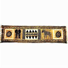 Horizontal Black and Natural Animal Batik - Tonga Textiles