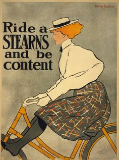 Ride a Stearns and be content (bike advertisement, bicycle, orange)