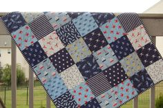 Baby boy quilt, crib quilt, nautical themed, seaworthy, blue-navy-white, crib bedding, nursery bedding,