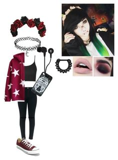 """:P"" by silentscream000 ❤ liked on Polyvore featuring CENA, Topshop, Converse, Skullcandy and Hot Topic"