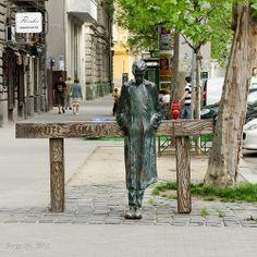 Statu of Miklós Radnóti - Nagymező street, Budapest, Hungary