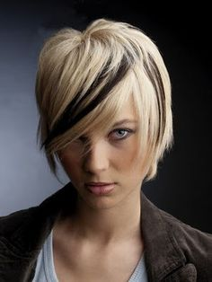 Love the cut, but reverse the colors with a swath of blonde!  This may be my style this Saturday!