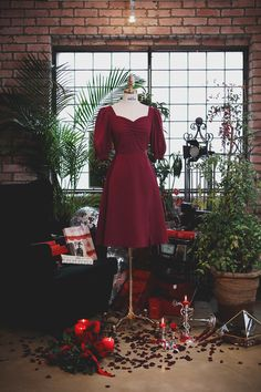 Korean Fashion, High Fashion, Womens Fashion, Red Slit Dress, Cute Dresses, Casual Dresses, Frock Patterns, Frock Design, Aesthetic Movies
