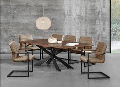 Tisch in edlem und zeitlosem Eiche-Design + Designstuhl im 6er-Set - 86,5 x 60cm - schwarz