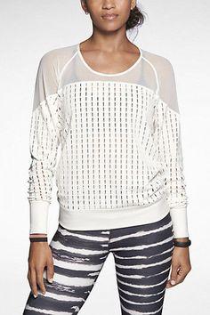 NIKE Ivory White Womens Sheer TOP Lattice Size Small Workout Lace Dri-fit NWT  #Nike #ShirtsTops #lattice #sportwear #activewear #gymfashion #ebayshop #ebayseller #shopmywardrobe