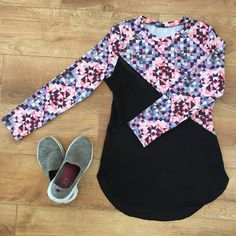 Rumana made a very stylish, modest workout top by simply extending the hemline on our Tessellate Tee pattern!