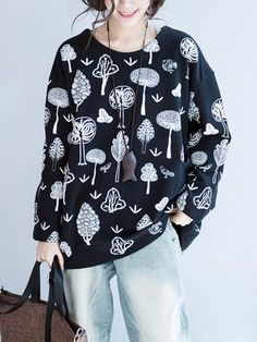 Loose Women Cotton Casual Tree Printed Long Sleeve Thick Pullover Sweatshirt