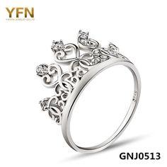 10% СКИДКА Натуральная 925 пробы Серебряные кольца Для женщин Princess  Crown ювелирные изделия CZ Кристалл Кольца Мода Серебряные ювелирные  изделия для ... 6406068d169