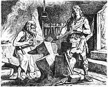 Gram forged by Volund; Sigmund received it in the hall of the Völsung after pulling it out of the tree Barnstokkr where Odin placed it. The sword was destroyed in battle when Sigmund struck the spear of an enemy dressed in a black hooded cloak. Before he died, Sigmund instructed his wife to keep the pieces so that it might be reforged for their unborn son (Sigurd). The sword was eventually reforged by Regin for Sigurd's use. After it was reforged, it could cleave an anvil in half.